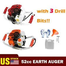 52cc 2 Stroke Gasoline Gas Powered Earth Auger Post Hole Digger Machine Or 3bits