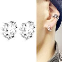 Solid 925 Sterling Silver Linked Chain Biker Mens Unisex Sleeper Hoop Earrings