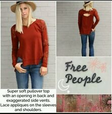 FREE PEOPLE We the Free Women Outer Sunset Lace Henley Shirt Top Rust XS