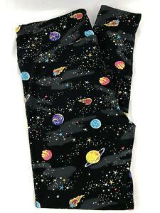 LuLaRoe TC Leggings Tall & Curvy Black Space Planets Galaxy NEW Fits 12-18