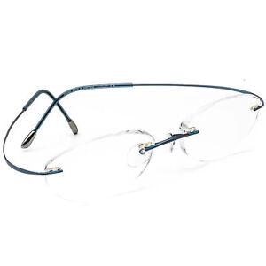 Silhouette Eyeglasses 7700 10 Blue Rimless Metal Frame Austria 48[]18 130