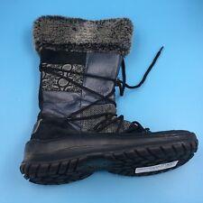 Skechers Womens Black Gray Leather, Faux-Fur Zipper Winter Boots Boots 8.5 VG DR