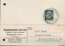 GLASLITZ/KLINGENTHAL, Postkarte 1933, Musik-Waren-Fabrik Hans Rölz