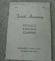 Vintage 1942 Booklet Schulz Baking Company 40th Anniversary Program