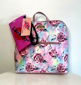 Betsey Johnson Backpack Pink Multi Floral School Travel Bag Purse w/Pouch NWT