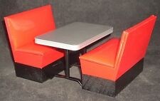 Red Plastic Booth 2 Booths & Table #T5899 1:12 Restaurant Mexican Italian Diner