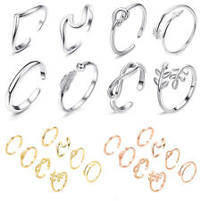 8PCs/set Sterling Silver Fashion Simple Toe Ring Adjustable Foot Beach Jewelry06