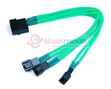 Shakmods Molex De 3 X 3 Pin Fan 20cm Y Splitter Cable de alimentación 12v Verde Manga