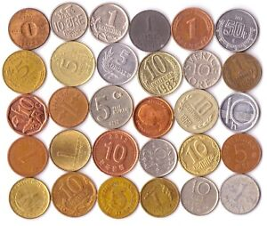 SET OF 30 SMALLEST AND DIFFERENT COINS FROM ALL OVER THE WORLD
