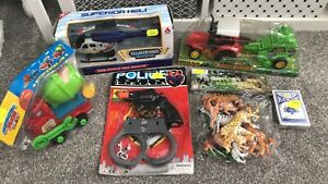 6pcs Toy Bundle Farm Truck Police Helicopter Police Set Cards Construction Car