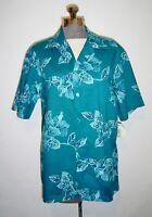 Hilo Hattie Hawaiian Shirt Teal Blue Cotton Button Front Vintage Mens Sz L NWT