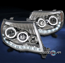 FOR 2005-2011 TOYOTA TACOMA PICKUP HALO LED DRL CHROME PROJECTOR HEADLIGHTS LAMP