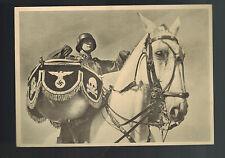 Mint WW 2 Germany Waffen SS Soldier on Horseback Postcard Deathshead Drummer