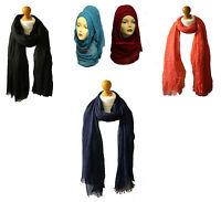 Super Soft **COTTON** Large Maxi Plain Scarf Hijab Wrap Sarong Oversize Big Long