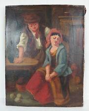 ancienne huile sur toile tableau ancien école du nord scène d'intérieur couple