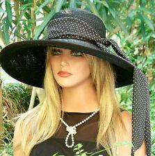 Women's Ladies Black Hat, Wedding Hat, Church Hat, Funeral Hat, Wide Brim Hat