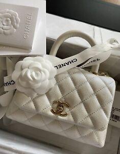 Auth. Chanel 20K Iridescent White Caviar Extra Mini Coco Handle CC Gold Chain