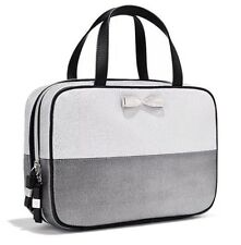 Victoria's Secret Silver Glitter Bow Large Travel Case Beauty Cosmetic Handles