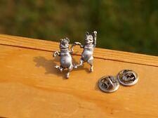 1981 Silver Tone Metal Dancing Pigs Lapel Pin Pinback