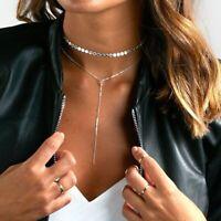 Damen Doppel Kette Halskette Silber Gold Farbe Blogger Kurz Statement NEU Ethno