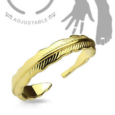 Ring / Toe Ring Tribal Feather Size 5 & Up Adjustable Color Gold Rose Steel