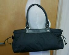 "Kate Spade Black Leather Trim & Fabric Bag/Purse 14""x7""  Pre-Owned"