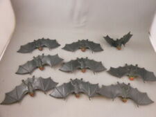 "Lot 9 Vtg Flying BAT 4"" Gray w/ Red Eyes Halloween Decoration Figure Rare"