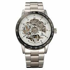 NWOT Ik Colouring Men's White Dial Skeleton Silver Dial Stainless Watch