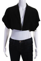 Brian Reyes Womens Solid Cropped Short Sleeve Open Front Jacket Black Size 2