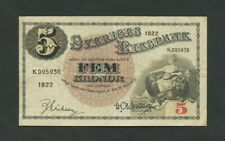 More details for sweden  5 kronor  1922  p33e  about vf  banknotes