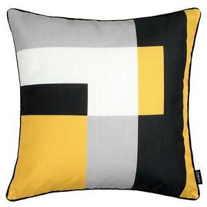 Geometric Cushion Mustard Yellow Grey Throw Top Pillow Sofa Cover Case 45cm 18in