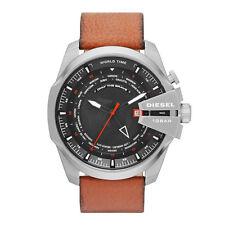 DIESEL Uhr DZ4321 MEGA CHIEF Herren Edelstahl Silber Leder Braun Armbanduhr NEU