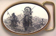 Belt Buckle Barlow  Scrimshaw Carved Painted Indian Horse Scene Traditional 0413