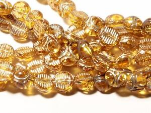 (310) Deco vintage Czech silver gilt topaz Egyptian revival disc glass beads 6mm
