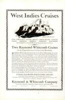 Advertising West Indies Cruises Raymond & Whitcomb Cuba Puerto Rico Nassau 1926