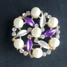 New Vintage Rhinestone colors gold round Brooches For Women Pin Crystal Broches