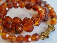 VINTAGE PETITE ART DECO COSTUME JEWELRY BOW CLASP NECKLACE FAUX AMBER BAKELITE