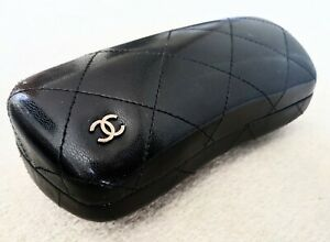 Chanel Quilted Glasses - SunGlasses Case with Cloth, Large, Black Made in Italy