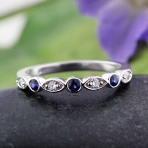 0.45 Ct Real Sapphire Gemstone Band Solid 950 Platinum Diamond Bands Size M O P