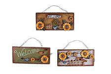 Ornamental Metal Sunflower Bird Welcome Plaque Home Decorative 3 Colors Optional