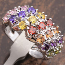 Statement Ring New Size N/6.75 Silver Rainbow Cubic Zirconia Thick Chunky
