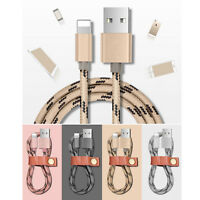 1/2/3M Braided Lightning Sync Data Cable USB Charger iphone 5 5CSE 6 6S 7 7Plus