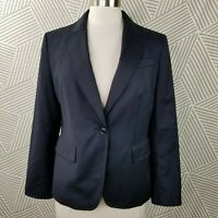 Talbots Blazer Navy Wool Single Button Size 12 Petite jacket career business