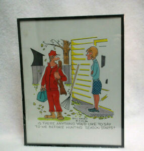 """Bill Davey Cartoon Wall Art Hunting """"Is There Anything..."""" 1986  Vintage  S9440"""