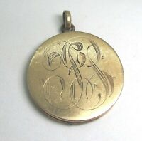 Victorian Heavy Gold Plate Engraved Locket Pendant 13.3 grams