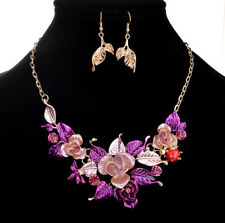 TWO TONE PURPLE/PINK BLUE ROSE FLOWER LEAF ENAMEL CRYSTAL NECKLACE EARRINGS SET