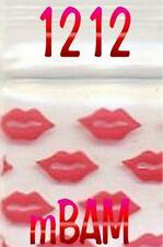 "100 PACK BIG RED LIPS 1212 Apple Zip Baggies .5x.5""  Mini Bags"