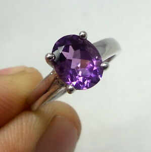 9x7 MM Natural Top Amethyst Gemstone 925 Sterling Silver Beautiful Unisex Ring