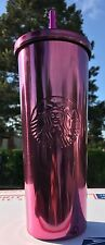 NEW 2017 STARBUCKS COLD CUP PINK SHINY RARE STAINLESS STEEL TUMBLER 24 fl oz