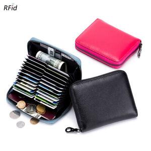 RFID Blocking Leather Women's Credit Card Wallet Zipper Holder Case for Men